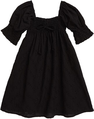 En Elly Embroidered Puff Sleeve Smocked Dress