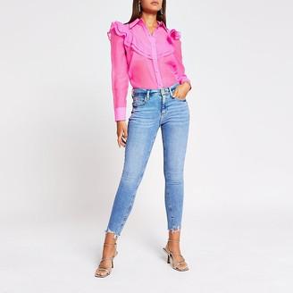 River Island Pink long sleeve frill front shirt