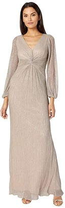 Adrianna Papell V-Neck Draped Gown w/ Pleated Glitter Knit Sleeves (Light Champagne) Women's Dress