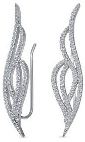 Bling Jewelry Bride Pave CZ Crawlers Ear Pin Climbers Earrings 925 Sterling Silver