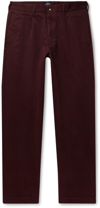 Noah Pleated Brushed-Cotton Chinos - Men - Burgundy