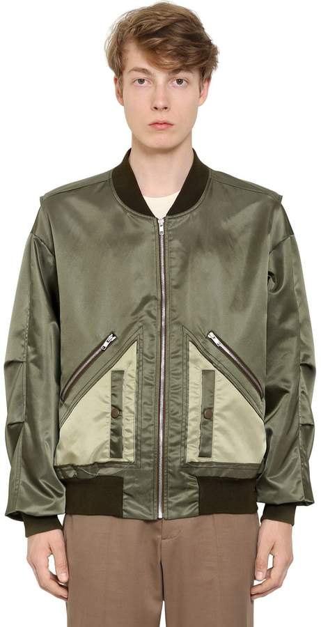 Maison Margiela Satin Bomber Jacket W/ Cut Out Hem