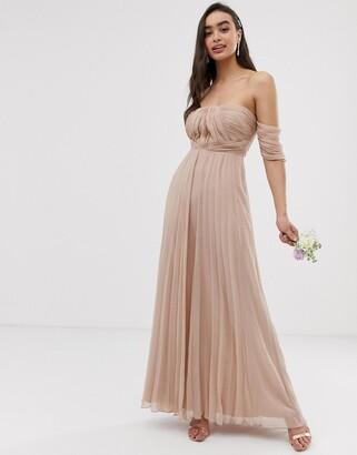 ASOS DESIGN Bridesmaid bardot ruched pleated maxi dress