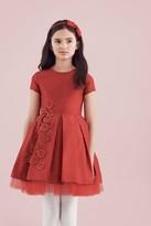 Oscar de la Renta Taffeta Party Dress With Guipure Flowers