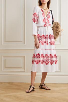 Melissa Odabash Lela Embroidered Cotton-gauze Maxi Dress - White