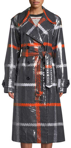 Marc Jacobs Double-Breasted Belted Windowpane Trench Coat