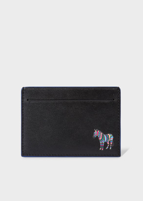 Paul Smith Men's Black 'Zebra' Print Leather Credit Card Holder With Blue Trims