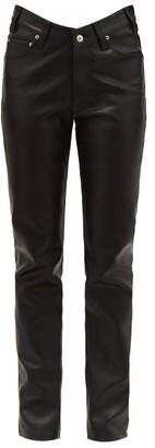 Balenciaga V-waist Leather Trousers - Womens - Black