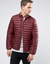 Asos Quilted Jacket with Funnel Neck in Burgundy