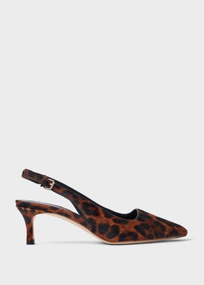 Hobbs Kiera Animal Kitten Heel Slingback Court Shoes