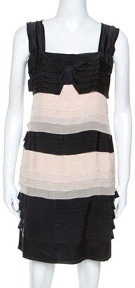 Philosophy di Alberta Ferretti Black and Cream Chiffon Tiered Dress L