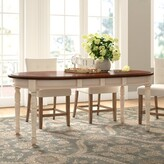 Laurèl Shelburne Extendable Solid Wood Dining Table Foundry Modern Farmhouse Color: Merlot/Buttermilk