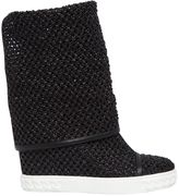 Casadei 80mm Woven Wedges Boots
