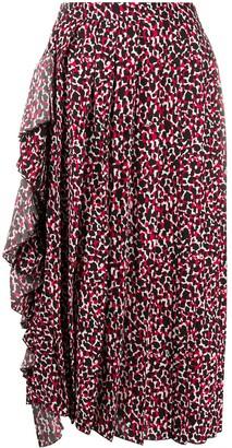 No.21 Abstract-Print Ruffle-Detail Midi Skirt