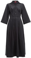 STAUD Pleated-skirt Cotton-blend Poplin Shirtdress - Womens - Black