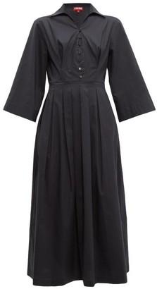 STAUD Pleated-skirt Cotton-blend Poplin Shirtdress - Black