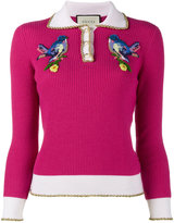Gucci bird embroidered knitted polo top