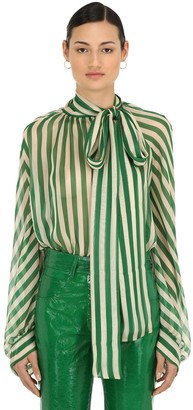 Petar Petrov STRIPED SHEER SILK CHIFFON BLOUSE