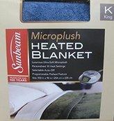 Sunbeam Velvet Plush HEATED BLANKET KING Size Light Blue (20 Personalized heat Settings)