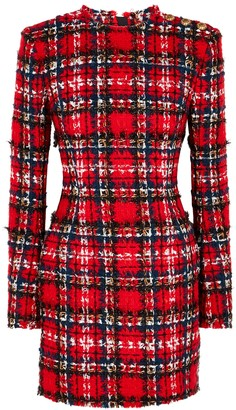Balmain Tartan tweed mini dress