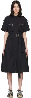 we11done Black Poplin Belt Mid-Length Dress