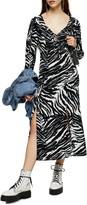 Topshop Animal Print Ruched Long Sleeve Midi Dress