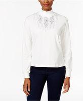 Alfred Dunner Petite Northern Lights Embellished Mock-Neck Sweater