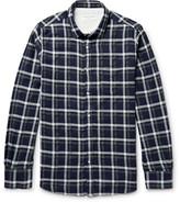 Officine Generale Lipp Checked Stretch Cotton-blend Shirt - Midnight blue