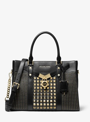 MICHAEL Michael Kors Nouveau Hamilton Large Studded Pebbled Leather Satchel