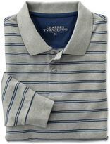 Charles Tyrwhitt Classic Fit Grey and Blue Striped Pique Long Sleeve Cotton Polo Size XL
