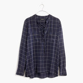 Madewell Silk Lace-Up Shirt in Windowpane Plaid