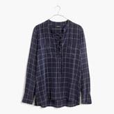 Madewell Silk Lace-Up Shirt in Windowpane Plaid