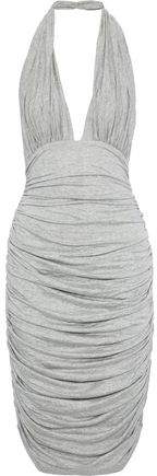 Norma Kamali Ruched Melange Stretch-jersey Halterneck Dress