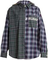 Natasha Zinko Oversized checked cotton hooded shirt