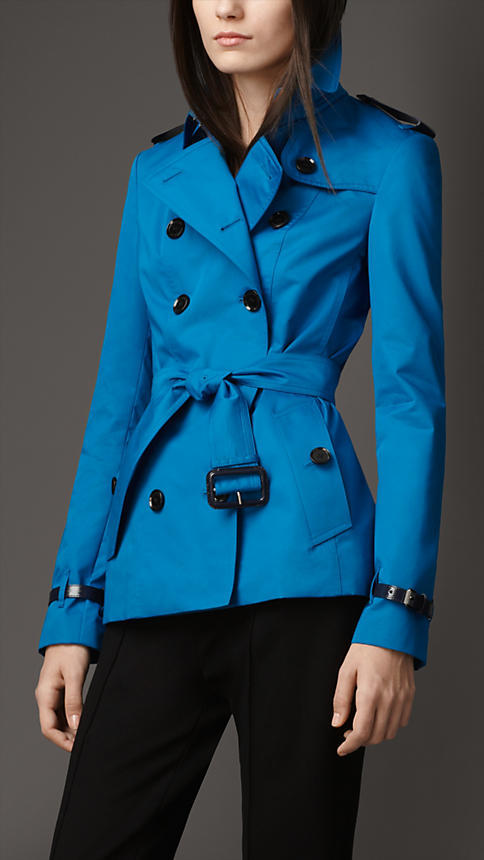 Burberry Leather Detail Sateen Trench Coat
