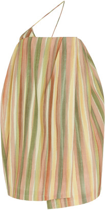 Jacquemus La Robe Soleil Striped Silk-Blend Mini Dress