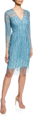 Pamella Roland Crystal & Sequin Embroidered Illusion Dress