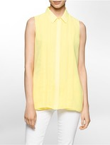Calvin Klein Pleat Front Sleeveless Blouse