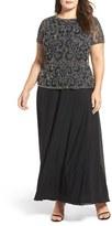 Pisarro Nights Plus Size Women's Beaded Mock Two-Piece Gown