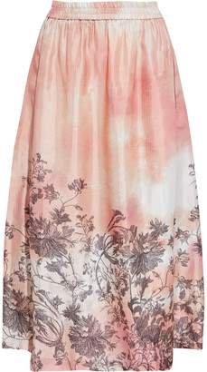 F.R.S For Restless Sleepers Aphelieia Printed Cupro-blend Satin-jacquard Midi Skirt