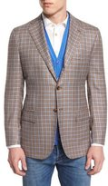 Kiton Cashmere-Blend Check Sport Coat, Tan