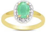 .75 Carat TW Oval-cut Emerald and Diamond Accent Ring Gold Plated (IJ-I2-I3) (May)