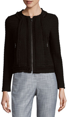 Rebecca Taylor Tweed Leather & Silk-Trim Wool-Blend Jacket