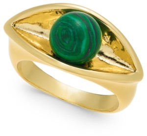 Alfani Gold-Tone Imitation Green Malachite Sculpted Ring, Created for Macy's