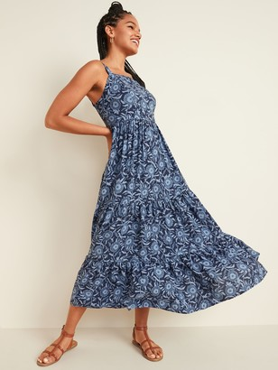 Old Navy Floral-Print Tiered-Hem Cami Maxi Dress for Women