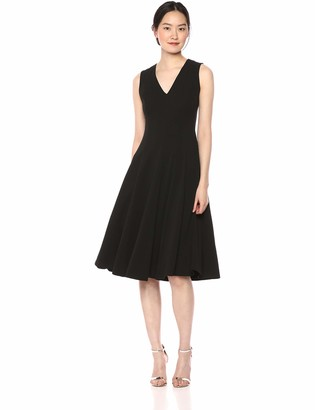 Calvin Klein Women's Sleeveless A Line Midi Dress with V Neckline