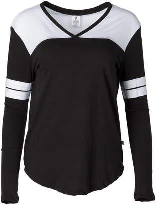 Venley Women's Tee Shirts Black - Black & White Long-Sleeve Hockey Tee - Women