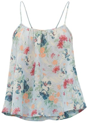 Loup Charmant Floral-print Organic-cotton Cami Top - Blue Print