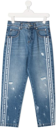 Balmain Kids Straight Leg Distressed Jeans