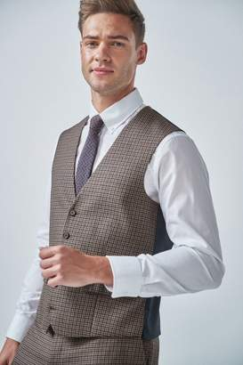 Next Mens Tan Gingham Check Suit: Waistcoat - Brown